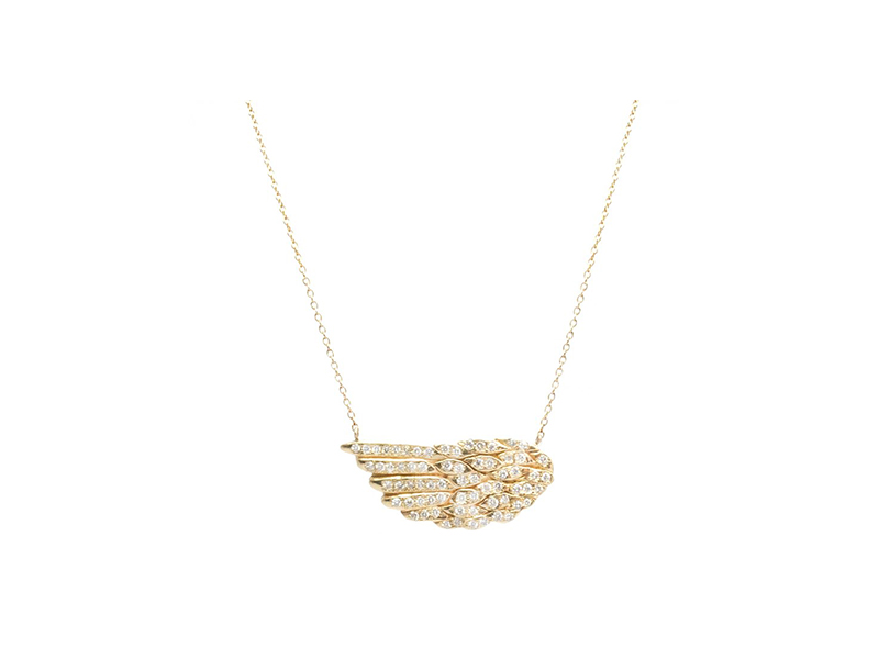 Samira 13 Pave diamond wing necklace mounted on 14 k yellow gold and diamonds 4670 $