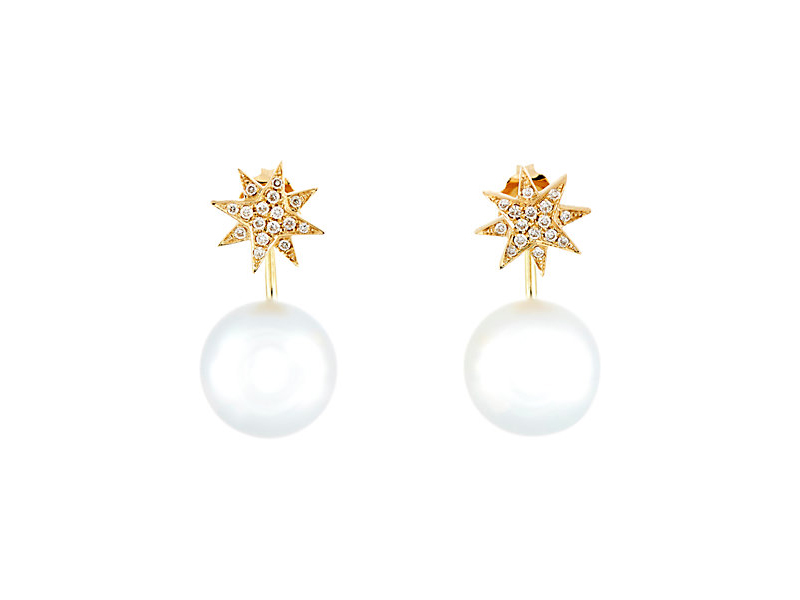 Samira 13 Star studs with curved drop backs mounted on yellow gold with diamonds and an australian pearl 2'970 $