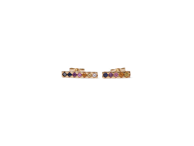 Sarah Sebastien Painted earrings mounted on gold wiht multi-stone - 480 €