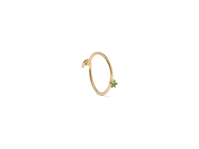Saskia Diez Wire solitaire mounted on rose gold with tsavorite 226 €