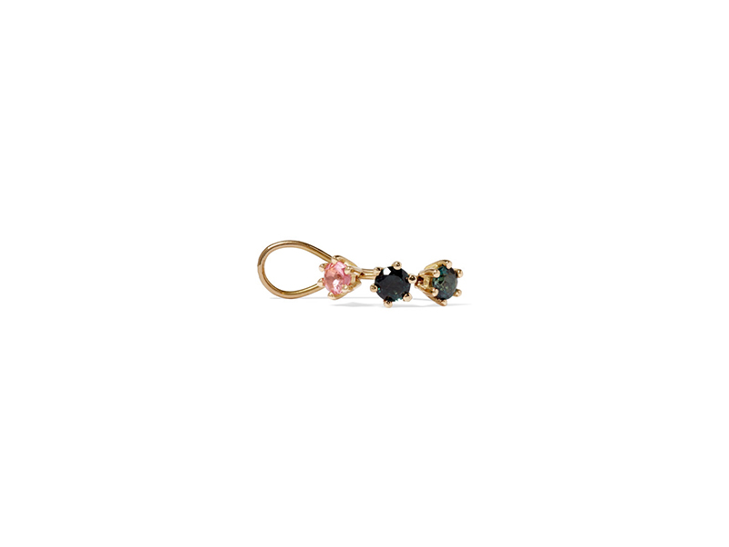 Saskia Diez Wire trinity ear cuff mounted on gold with tourmaline - 470 €