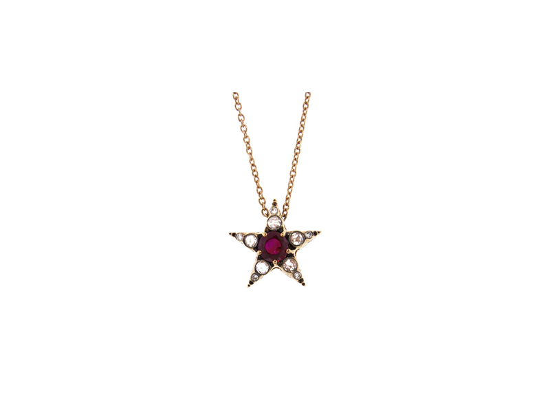 Selim Mouzannar Star pendant necklace mounted on rose gold with diamonds and ruby 2'440 $