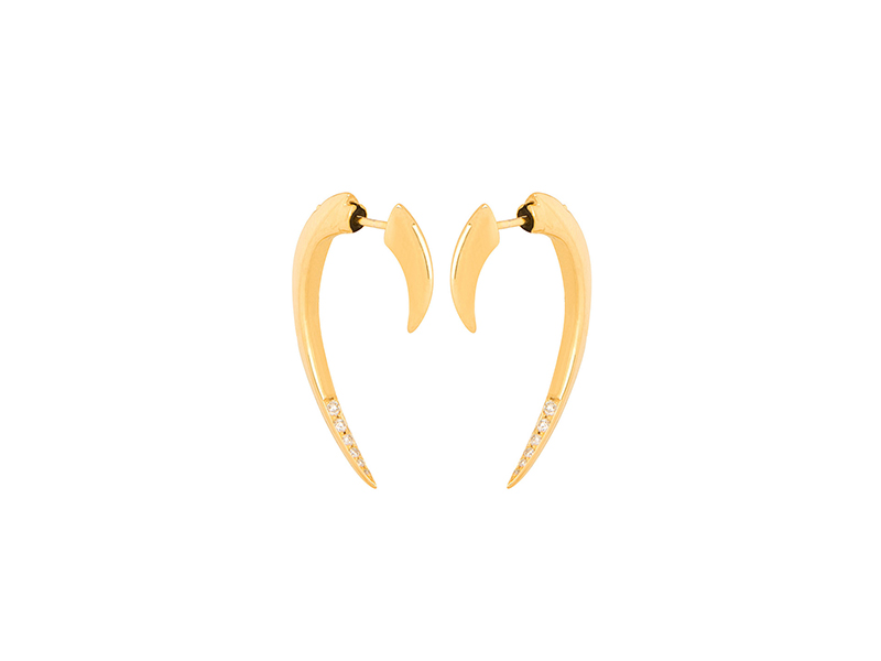 Shaun Leane Hook earrings yellow gold plated silver and white diamonds - 900 €