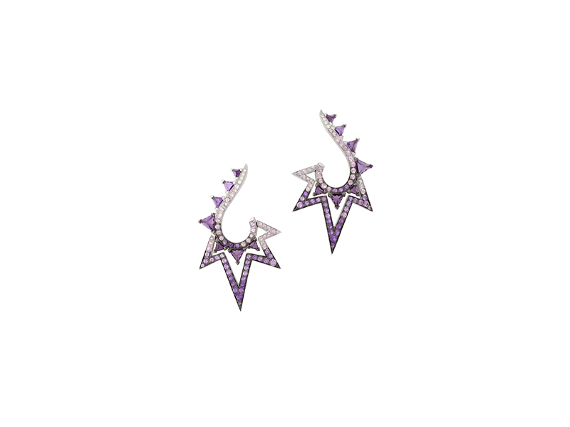 Stephen Webster Lady stardust earrings mounted on white gold with amethysts purple sapphires and white diamonds