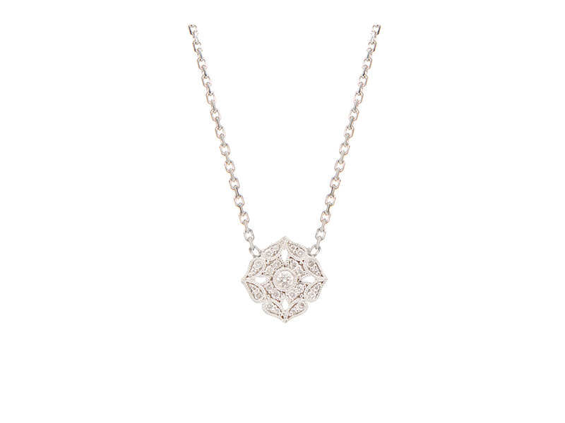 Stone Paris White gold and white diamonds Tiny Flower necklace 1510 €