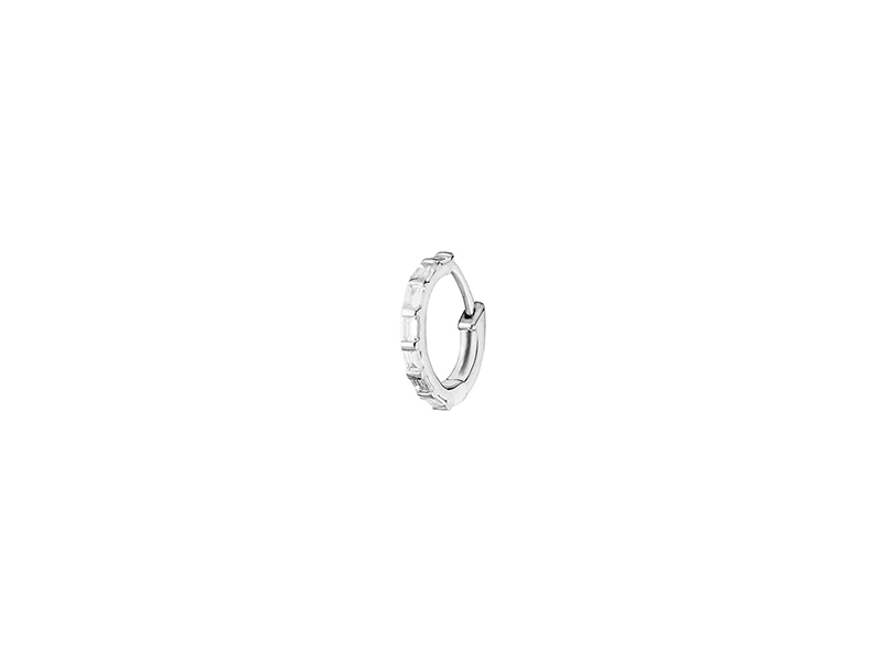 Stone Mini créole baguette mounted on white gold with diamond 460 €