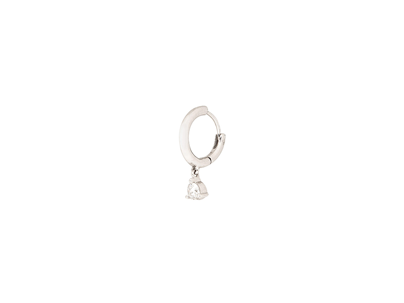 Stone Mini creole infinity earring mounted on white gold with white diamond - 500 $