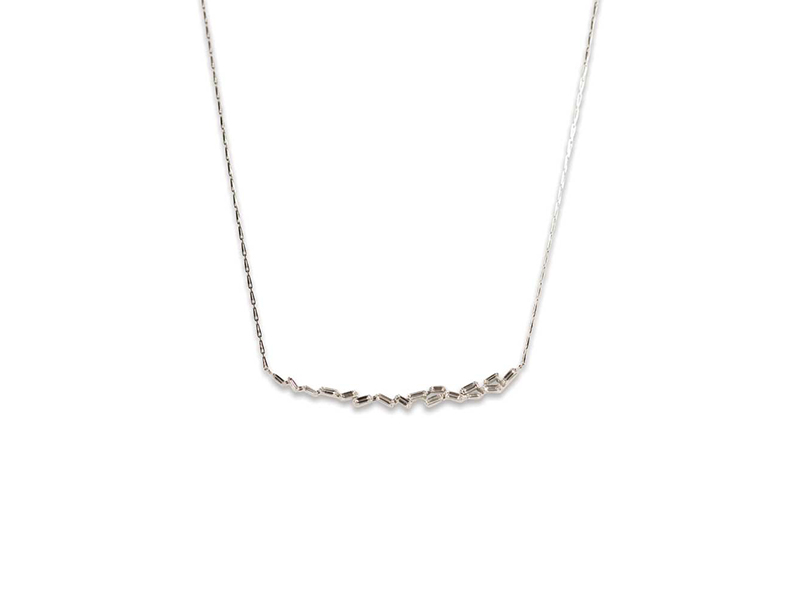 Susan Cambell Jewelry Fireworks baguette diamond bar necklace mounted on white gold - 2'420 $