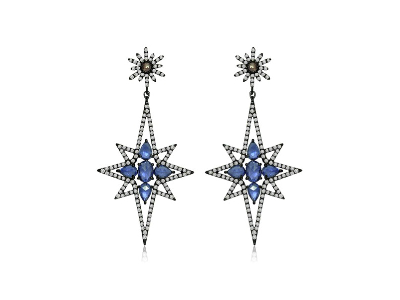 Sutra Jewels Starry pair of diamond earrings in rose cut blue sapphires & faceted Rose cut Diamond drop