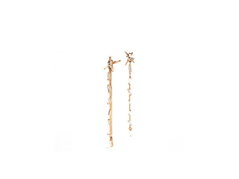 Suzanne Kalan Baguette stick earrings mounted on rose gold 3'200 $