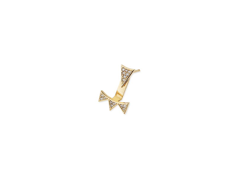 Sydney Evan Single earring mounted on yellow gold with diamonds -  635 $
