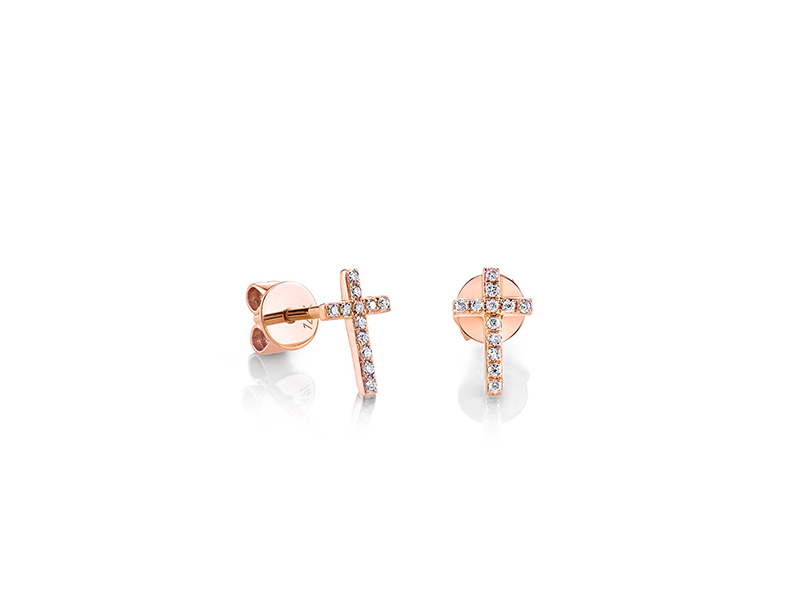 Sydney Evan Small rose gold and diamond cross stud earrings 528 €