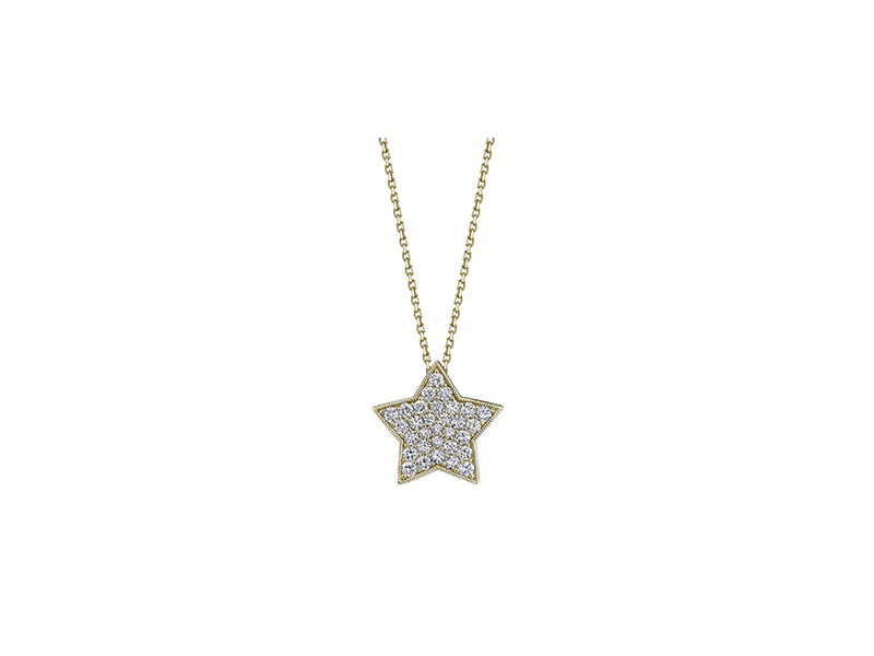 Sylvie Collection Diamond Star Pendant mounted on 14k yellow gold with diamonds