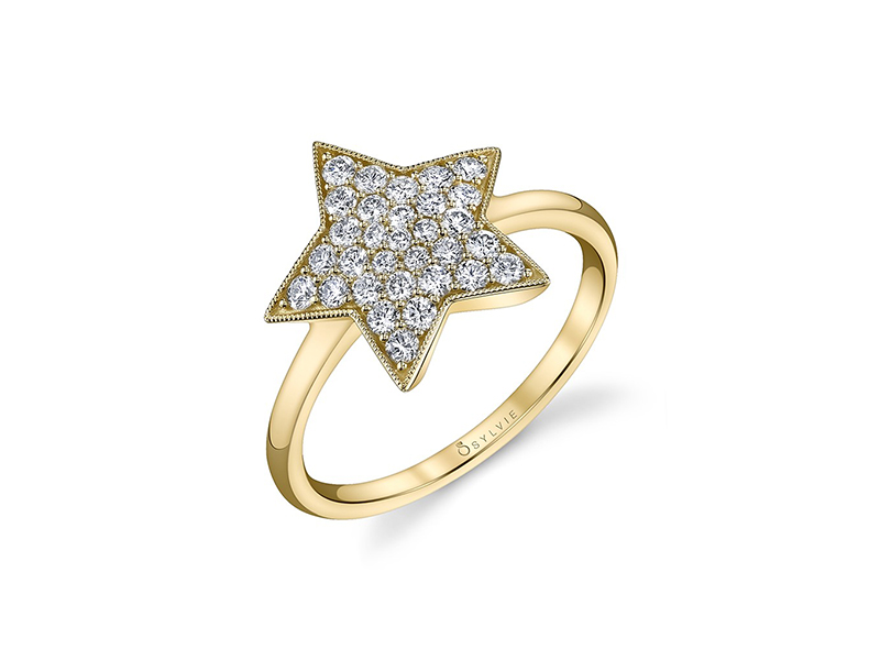 Sylvie Collection Diamond star ring mounted on 14k yellow gold with diamonds
