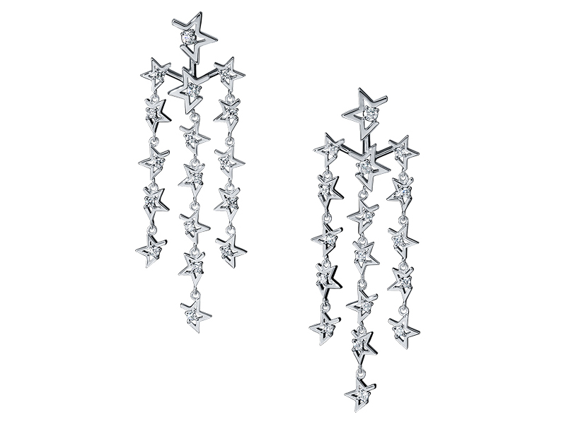 Tasaki Abstract star earrings mounted on white gold with diamonds