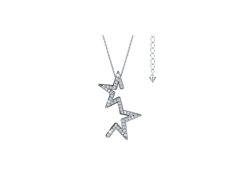 Tasaki Abstract star pendant mounted on white gold with diamonds
