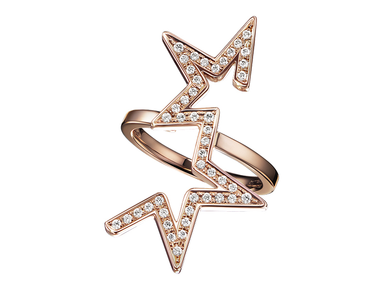 Tasaki Abstract star ring mounted on rose gold with diamonds