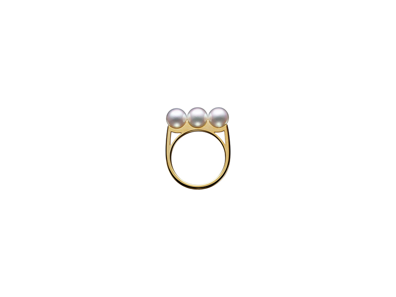 Tasaki Balance plus collection ring yellow gold with akoya pearl