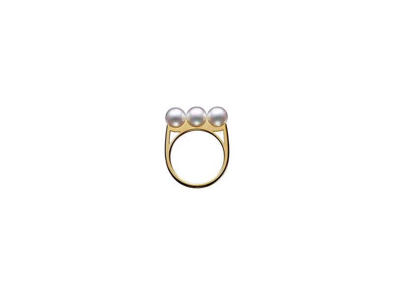 Tasaki Balance plus collection ring yellow gold with akoya pearl