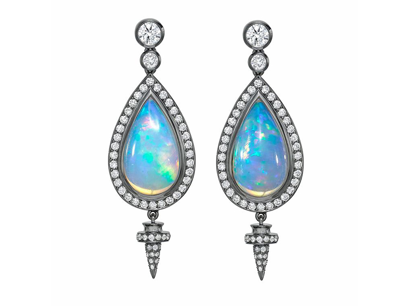Theo Fennell Ethiopian opal with diamond and white gold earrings - 18'000 £