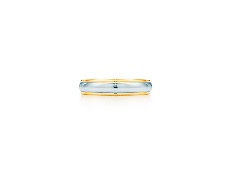 Tiffany & Co Lucida band ring yellow gold and platinum