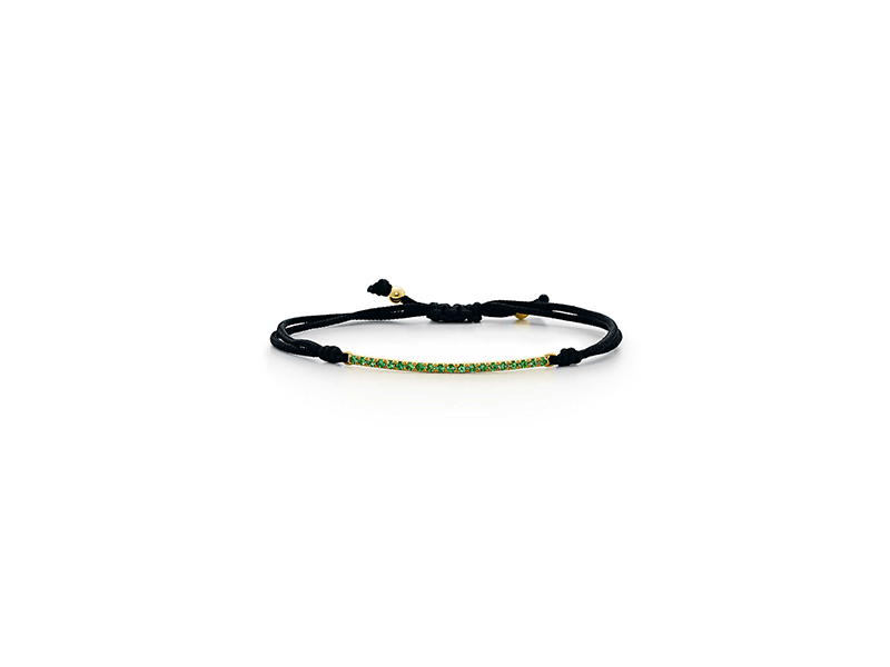 Tiffany & Co Metro bar cord bracelet mounted on yellow gold with tsavorite - 1'150 $