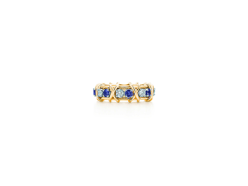 Tiffany & Co Sixteen stone ring mounted on yellow gold and platinum with diamond sand sapphires