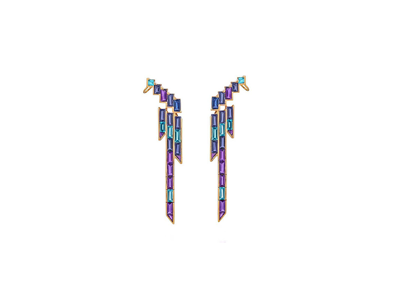 Tomasz Donocik Electric night earrings mounted on rose gold with baguette coloured gemstone
