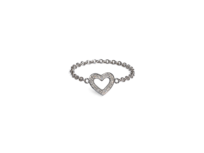 Vanessa Martinelli Heart chain ring mounted on white gold and diamonds 950 chf