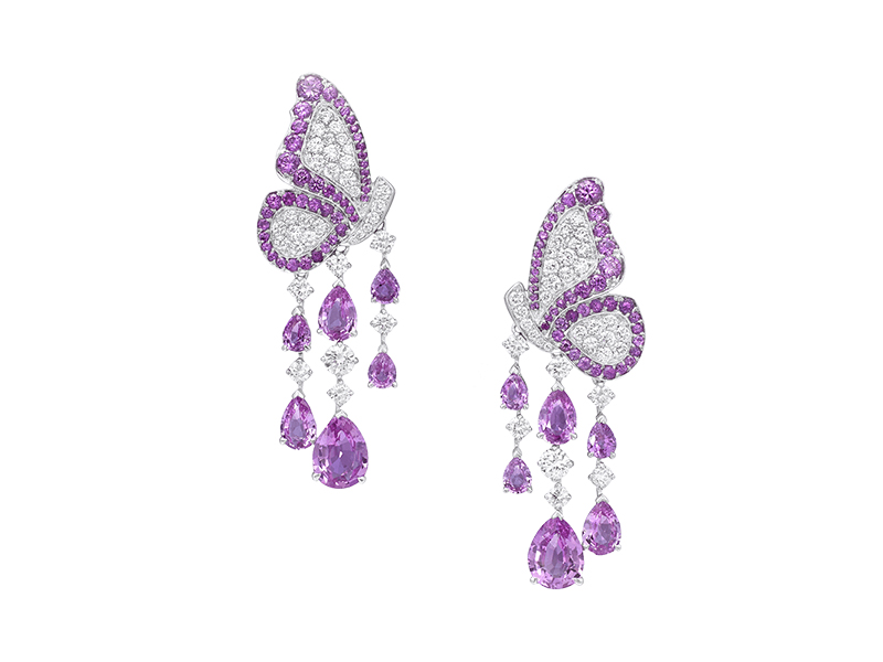 Vanleles Earrings mounted on white gold with diamonds and pink sapphire