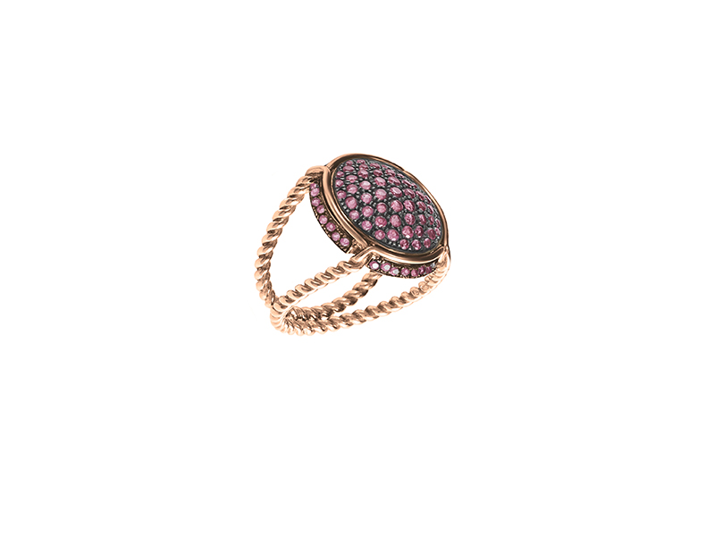 Virginie Carpentier Rose gold ring with rhodolite