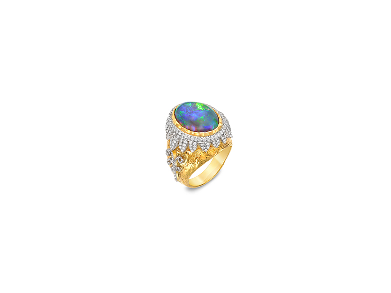 Victor Velyan Black opal diamonds yellow and white gold rings