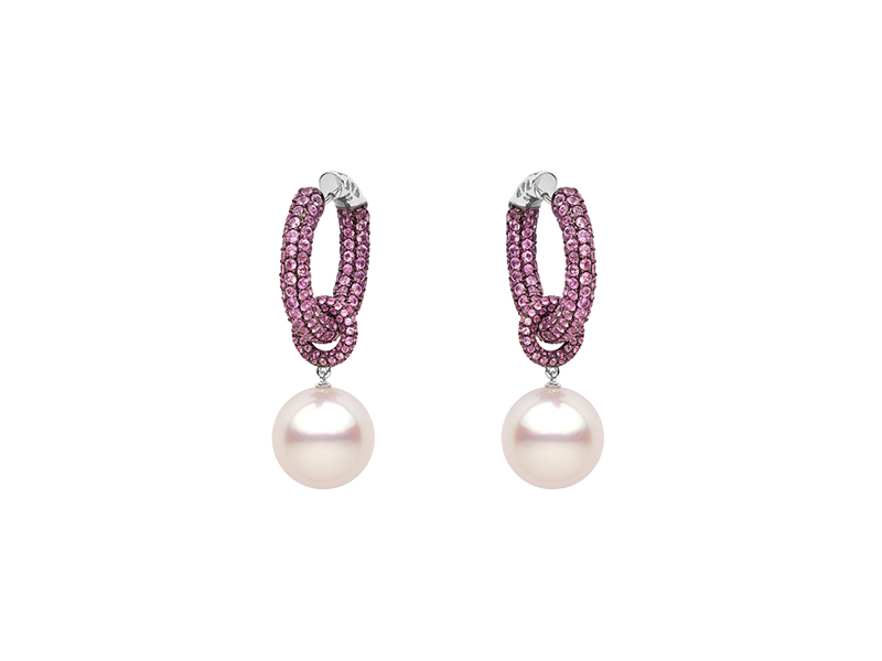 Yoko London Belgravia earrings mounted on black gold with pink sapphires & south sea pearls