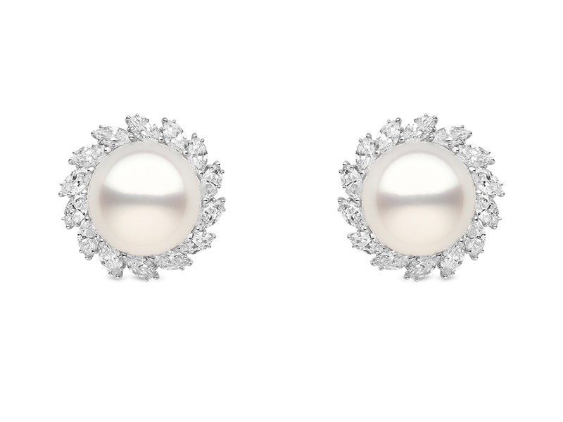 Yoko London Bridal collection white gold earrings with diamonds and south sea pearls