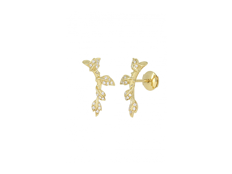 Yvonne Leon Puce Liane mounted on yellow gold with diamonds_1425 euros