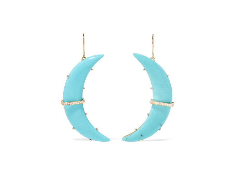 Andrea Fohrman Crescent moon gold turquoise and diamond earrings 5'538 €