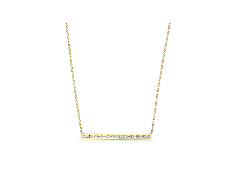 Anne Sisteron Baguette thin bar necklace mounted on yellow gold