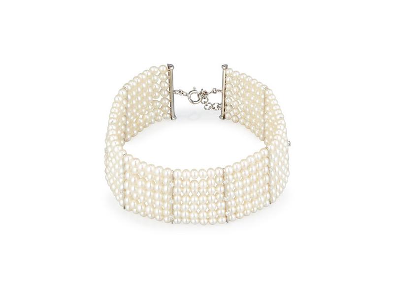 Utopia Seven-strand pearl choker necklace with diamonds 7'100 $