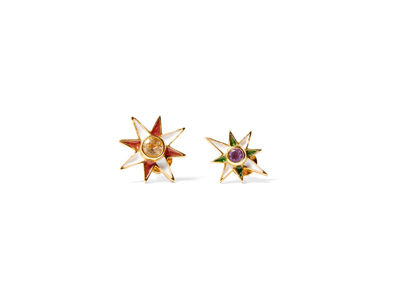 Percossi Papi Earrings mounted on gold plated with citrine, amethyst and enamel - 226 €