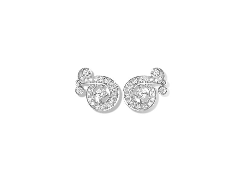 Van Cleef & Arpels Nid De Paradis Earstuds Mounted on white gold with round diamonds.