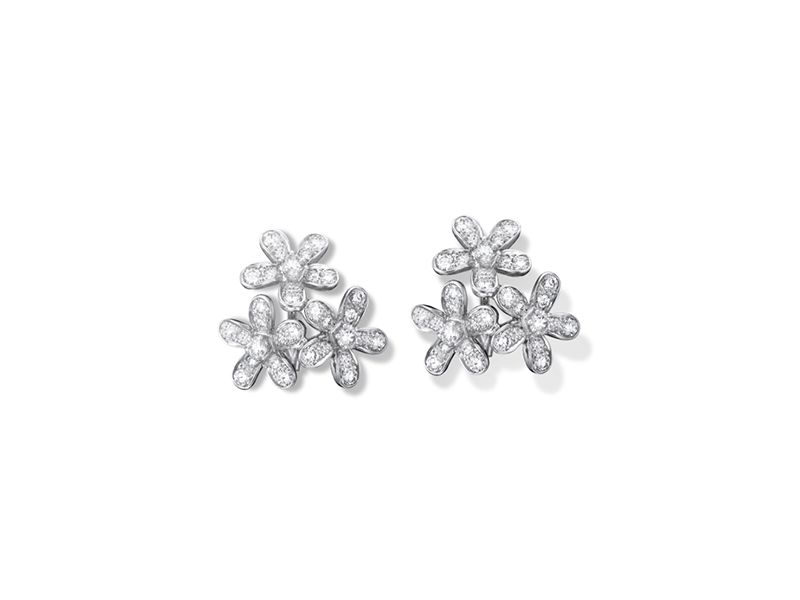 Van Cleef & Arpels Socrate Earrings, 3 Flowers Mounted on white gold with round diamonds.