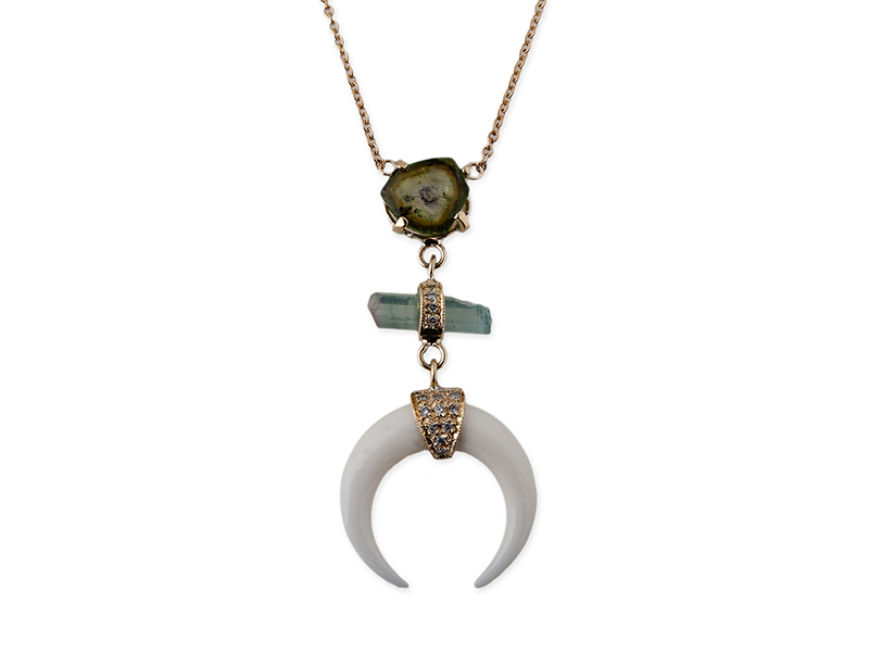 Jacquie Aiche Yellow gold pave watermelon tourmaline slice, tourmaline bar and double bone horn necklace
