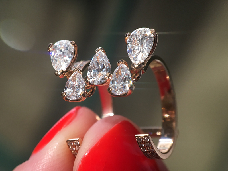 Repossi Ring with 5 pear diamonds