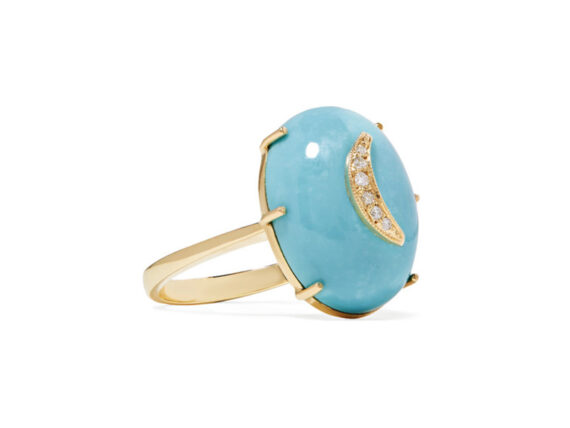 Andrea Fohrman Crescent Moon gold with turquoise and diamond ring