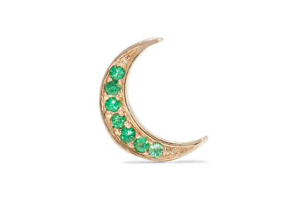 Andrea Fohrman Mini Crescent gold emerald earring