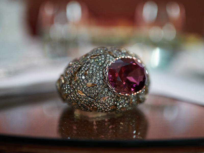 Ilgiz Fazulzyanov Bracelet with russian amethyst (140ct), russian demantoids and diamonds
