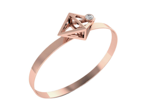 Innocent Stone - Ribbon bracelet in rose gold and diamonds