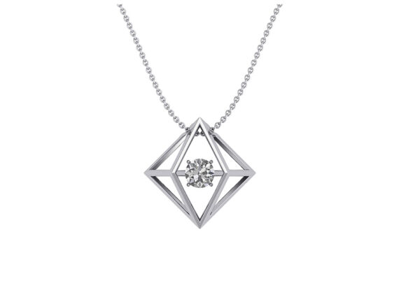 Innocent Stone - Solitaire pendant in white gold and diamond