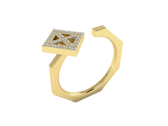 Innocent Stone - Ring pave in yellow gold and diamonds