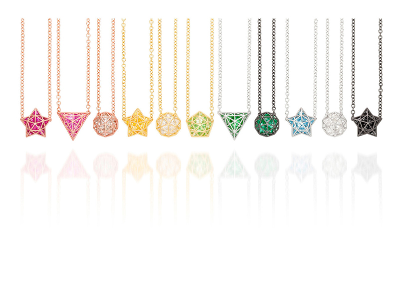 Roule & Co Roulette Shaker pendants in 18k gold and colored gemstones